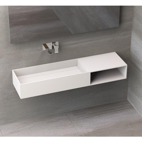 Ideavit Solidpure-140 wastafel 140x38 cm mat wit zonder kraangat