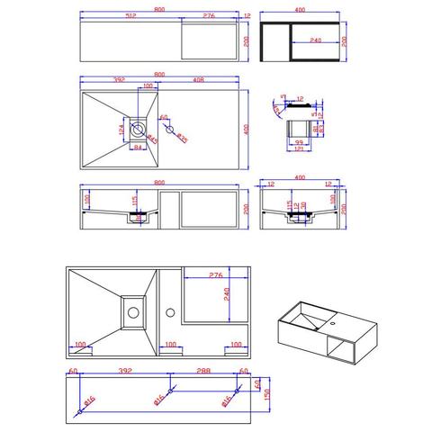 Ideavit Solidplan-80 wastafel 80x40 cm mat wit zonder kraangat