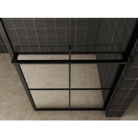 Wiesbaden Taira inloopdouche 90cm mat zwart raster & handdoekhouder