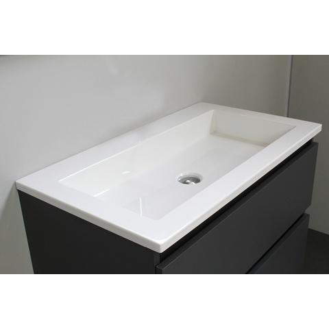 Bewonen Luuk badmeubel - 80cm - acryl wastafel - zonder kraangat - mat antraciet - zonder spiegel - bouwpakket