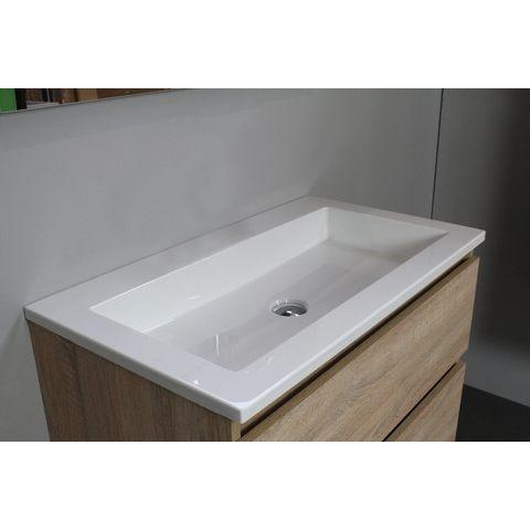 Bewonen Luuk badmeubel - 80cm - acryl wastafel - zonder kraangat - eiken - zonder spiegel - bouwpakket