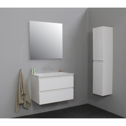 Bewonen Luuk badmeubel - 80cm - acryl wastafel - zonder kraangat - hoogglans wit - zonder spiegel - bouwpakket