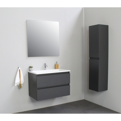 Bewonen Luuk badmeubel - 80cm - acryl wastafel - 1 kraangat - mat antraciet - zonder spiegel - bouwpakket