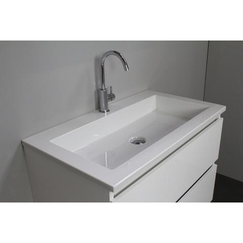 Bewonen Luuk badmeubel - 80cm - acryl wastafel - 1 kraangat - hoogglans wit - zonder spiegel - bouwpakket