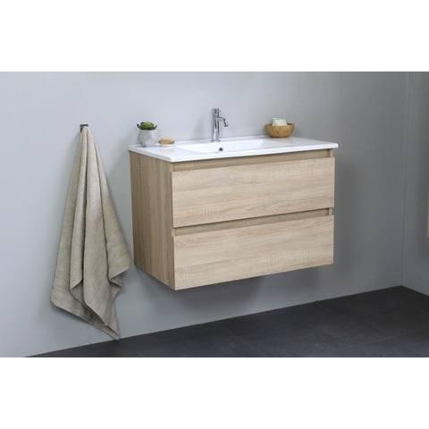 Bewonen Luuk badmeubel - 80cm - keramische wastafel - 1 kraangat - eiken - zonder spiegel - bouwpakket