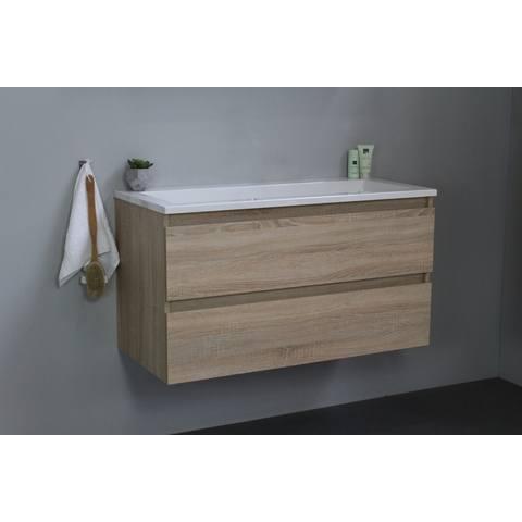 Bewonen Luuk badmeubel - 100cm - acryl wastafel - zonder kraangat - eiken - zonder spiegel - bouwpakket
