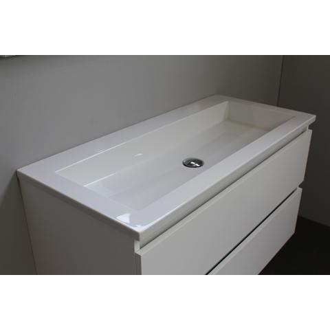 Bewonen Luuk badmeubel - 100cm - acryl wastafel - zonder kraangat - hoogglans wit - zonder spiegel - bouwpakket