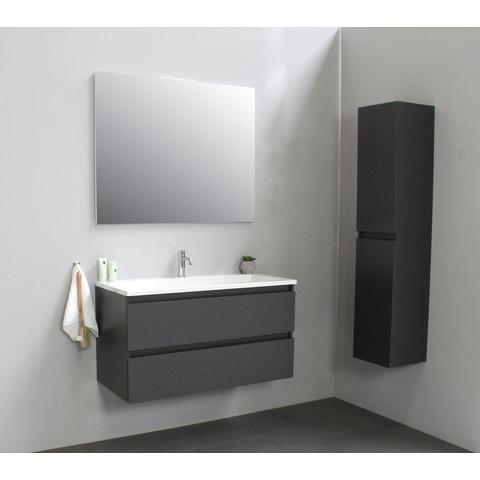 Bewonen Luuk badmeubel - 100cm - acryl wastafel - 1 kraangat - mat antraciet - zonder spiegel - bouwpakket