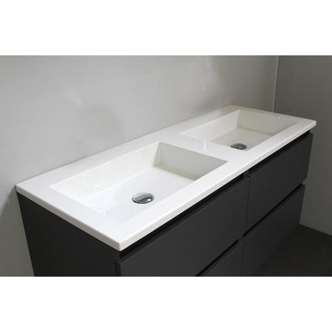 Bewonen Luuk badmeubel - 120cm - acryl wastafel - zonder kraangat - mat antraciet - zonder spiegel - bouwpakket