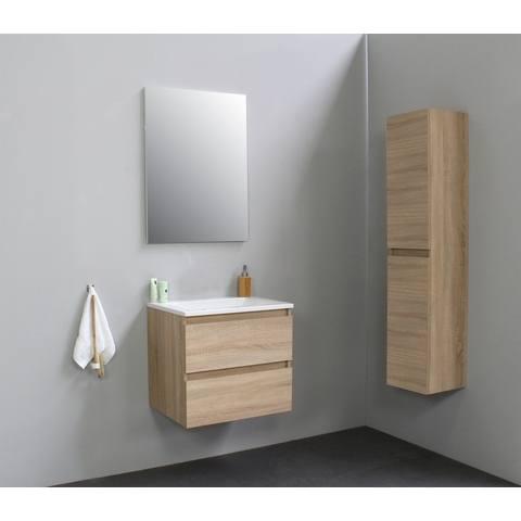 Bewonen Luuk badmeubel - 60cm - acryl wastafel - zonder kraangat - eiken - met spiegel - bouwpakket