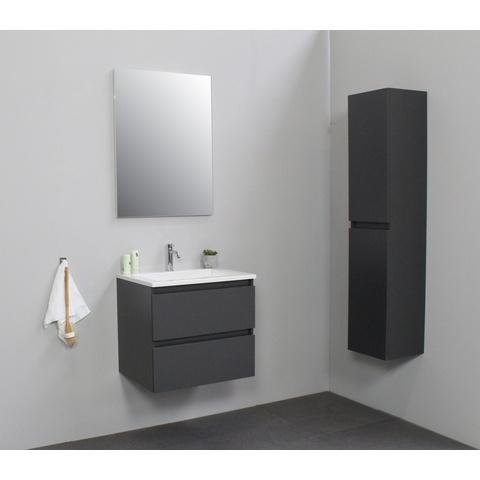 Bewonen Luuk badmeubel - 60cm - acryl wastafel - 1 kraangat - mat antraciet - met spiegel - bouwpakket