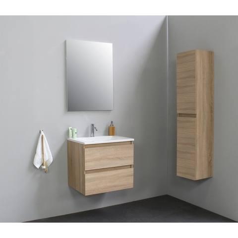 Bewonen Luuk badmeubel - 60cm - acryl wastafel - 1 kraangat - eiken - met spiegel - bouwpakket