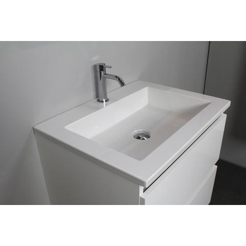 Bewonen Luuk badmeubel - 60cm - acryl wastafel - 1 kraangat - hoogglans wit - met spiegel - bouwpakket