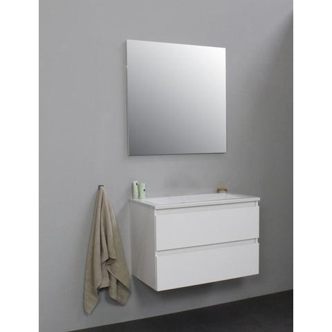 Bewonen Luuk badmeubel - 80cm - acryl wastafel - zonder kraangat - hoogglans wit - met spiegel - bouwpakket