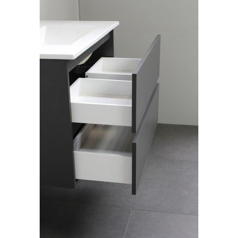Bewonen Luuk badmeubel - 80cm - acryl wastafel - 1 kraangat - mat antraciet - met spiegel - bouwpakket