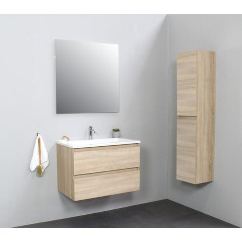 Bewonen Luuk badmeubel - 80cm - acryl wastafel - 1 kraangat - eiken - met spiegel - bouwpakket