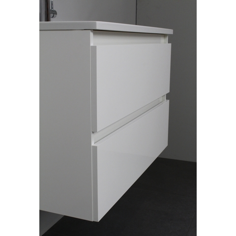 Bewonen Luuk badmeubel - 80cm - acryl wastafel - 1 kraangat - hoogglans wit - met spiegel - bouwpakket