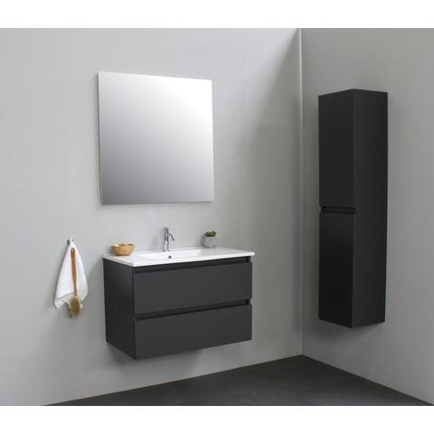 Bewonen Luuk badmeubel - 80cm - keramische wastafel - 1 kraangat - mat antraciet - met spiegel - bouwpakket