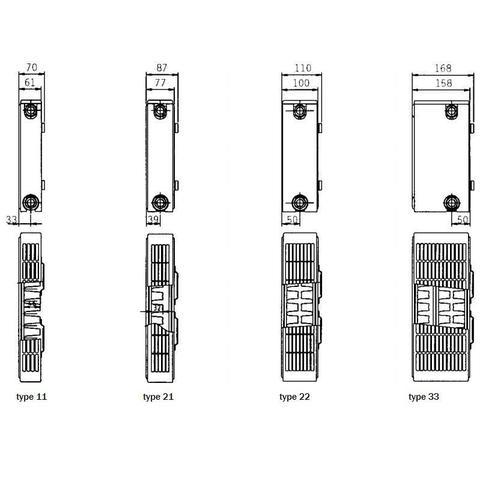 Henrad Compact paneelradiator type 22 - 260 x 60 cm (L x H)