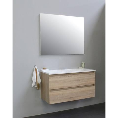 Bewonen Luuk badmeubel - 100cm - acryl wastafel - zonder kraangat - eiken - met spiegel - bouwpakket