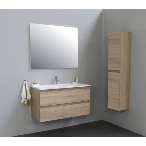 Bewonen Luuk badmeubel - 100cm - acryl wastafel - 1 kraangat - eiken - met spiegel - bouwpakket