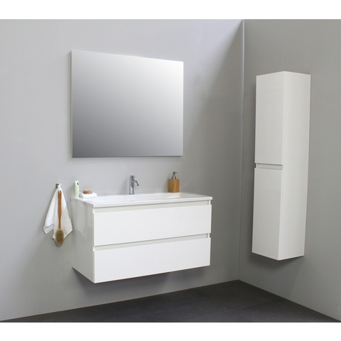 Bewonen Luuk badmeubel - 100cm - acryl wastafel - 1 kraangat - hoogglans wit - met spiegel - bouwpakket