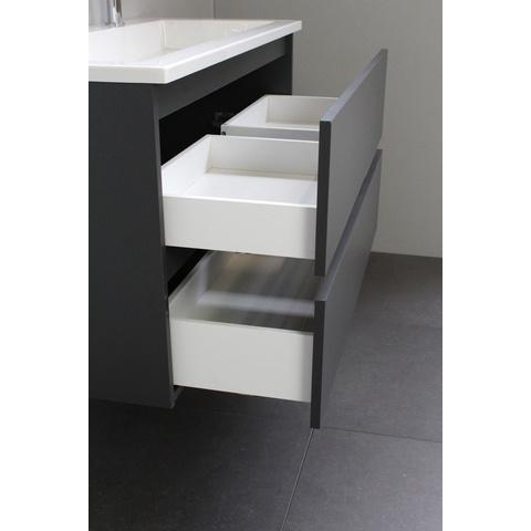 Bewonen Luuk badmeubel - 100cm - acryl wastafel - 2 kraangaten - mat antraciet - met spiegel - bouwpakket
