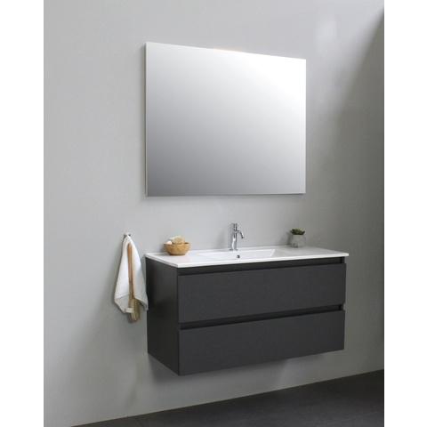 Bewonen Luuk badmeubel - 100cm - keramische wastafel - 1 kraangat - mat antraciet - met spiegel - bouwpakket