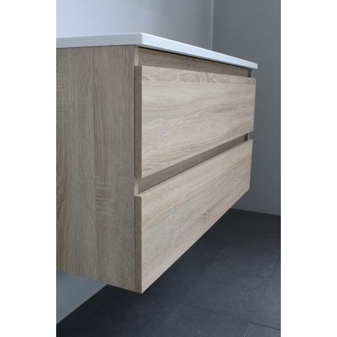 Bewonen Luuk badmeubel - 100cm - keramische wastafel - 1 kraangat - eiken - met spiegel - bouwpakket
