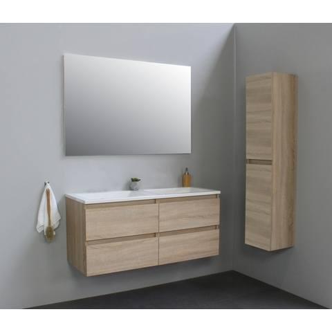 Bewonen Luuk badmeubel - 120cm - acryl wastafel - zonder kraangat - eiken - met spiegel - bouwpakket