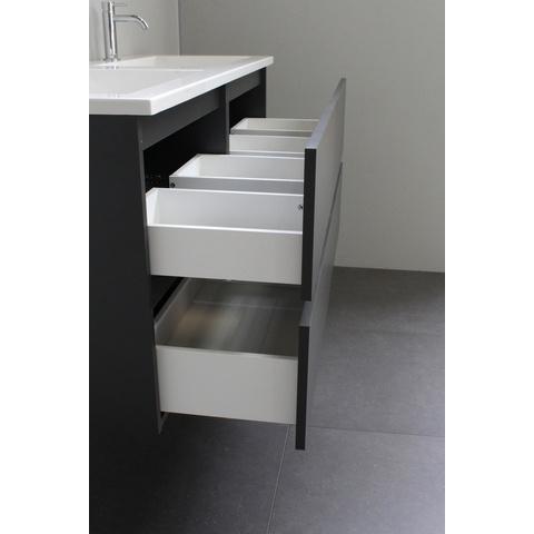 Bewonen Luuk badmeubel - 120cm - acryl wastafel - 2 kraangaten - mat antraciet - met spiegel - bouwpakket