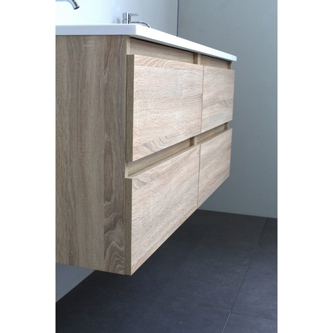 Bewonen Luuk badmeubel - 120cm - acryl wastafel - 2 kraangaten - eiken - met spiegel - bouwpakket