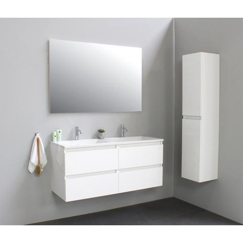 Bewonen Luuk badmeubel - 120cm - acryl wastafel - 2 kraangaten - hoogglans wit - met spiegel - bouwpakket