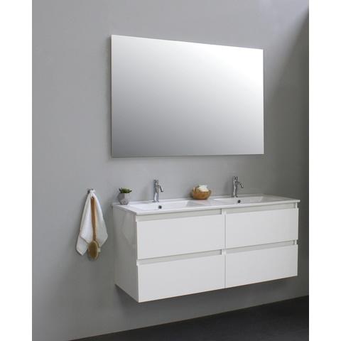 Bewonen Luuk badmeubel - 120cm - keramische wastafel - 2 kraangaten - hoogglans wit - met spiegel - bouwpakket