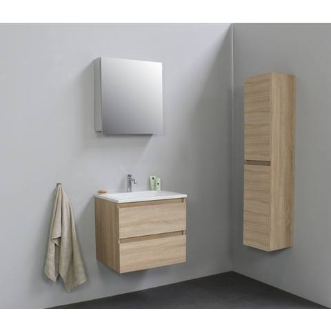 Bewonen Luuk badmeubel - 60cm - acryl wastafel - 1 kraangat - eiken - met spiegelkast - bouwpakket