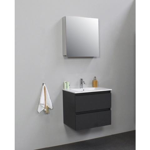 Bewonen Luuk badmeubel - 60cm - keramische wastafel - 1 kraangat - mat antraciet - met spiegelkast - bouwpakket