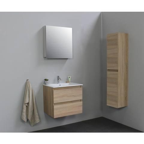Bewonen Luuk badmeubel - 60cm - keramische wastafel - 1 kraangat - eiken - met spiegelkast - bouwpakket