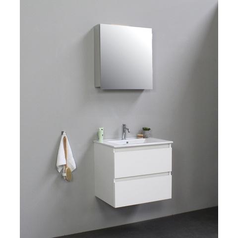 Bewonen Luuk badmeubel - 60cm - keramische wastafel - 1 kraangat - hoogglans wit - met spiegelkast - bouwpakket