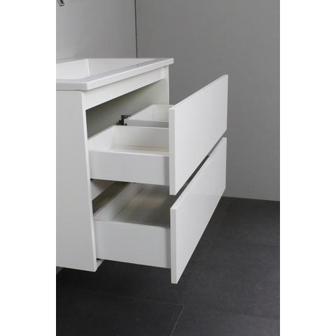 Bewonen Luuk badmeubel - 80cm - acryl wastafel - zonder kraangat - hoogglans wit - met spiegelkast - bouwpakket