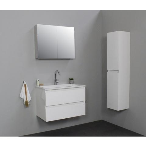 Bewonen Luuk badmeubel - 80cm - acryl wastafel - 1 kraangat - hoogglans wit - met spiegelkast - bouwpakket