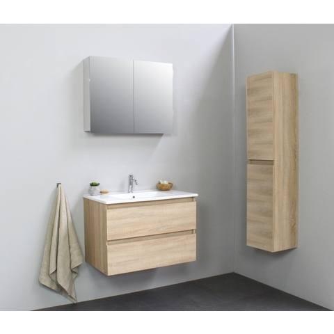 Bewonen Luuk badmeubel - 80cm - keramische wastafel - 1 kraangat - eiken - met spiegelkast - bouwpakket