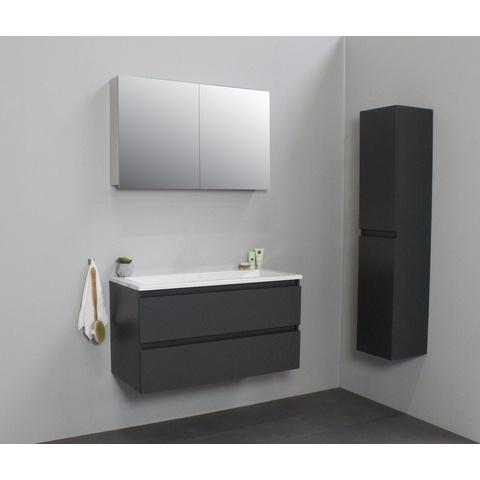 Bewonen Luuk badmeubel - 100cm - acryl wastafel - zonder kraangat - mat antraciet - met spiegelkast - bouwpakket