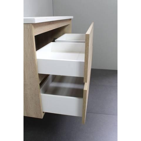 Bewonen Luuk badmeubel - 100cm - acryl wastafel - zonder kraangat - eiken - met spiegelkast - bouwpakket