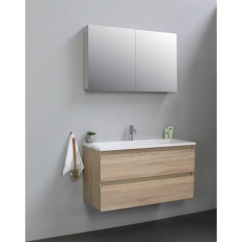 Bewonen Luuk badmeubel - 100cm - acryl wastafel - 1 kraangat - eiken - met spiegelkast - bouwpakket