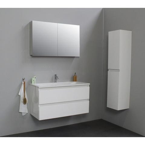Bewonen Luuk badmeubel - 100cm - acryl wastafel - 1 kraangat - hoogglans wit - met spiegelkast - bouwpakket