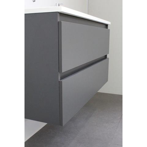 Bewonen Luuk badmeubel - 100cm - acryl wastafel - 2 kraangaten - mat antraciet - met spiegelkast - bouwpakket