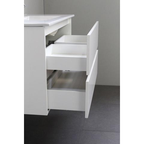 Bewonen Luuk badmeubel - 100cm - acryl wastafel - 2 kraangaten - hoogglans wit - met spiegelkast - bouwpakket