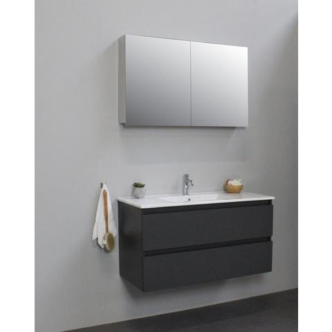 Bewonen Luuk badmeubel - 100cm - keramische wastafel - 1 kraangat - mat antraciet - met spiegelkast - bouwpakket