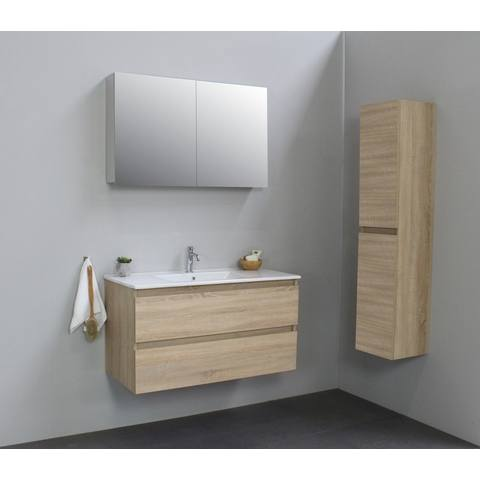 Bewonen Luuk badmeubel - 100cm - keramische wastafel - 1 kraangat - eiken - met spiegelkast - bouwpakket