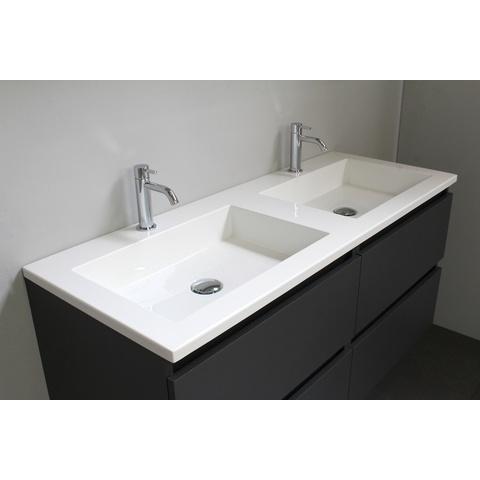 Bewonen Luuk badmeubel - 120cm - acryl wastafel - 2 kraangaten - mat antraciet - met spiegelkast - bouwpakket